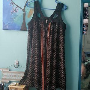 Chiffon style printed cutout geo dress